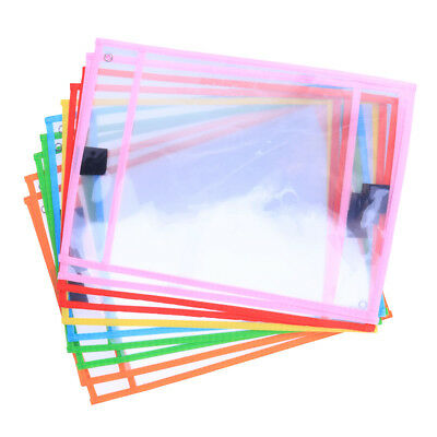 10pcs Dry Erase Pocket Sleeves Assorted Colors Stationery for Students Pupils