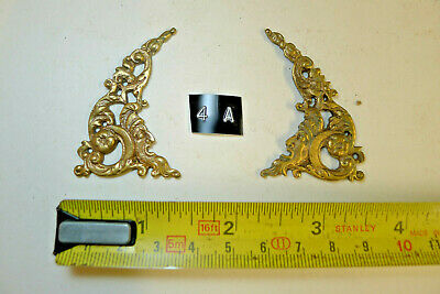 4a) PAIR ARCH CLOCK SPANDRELS Cast Yellow Brass Lantern/Bracket/Hooded