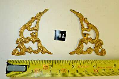 5a) PAIR ARCH CLOCK SPANDRELS Cast Yellow Brass Lantern/Bracket/Hooded