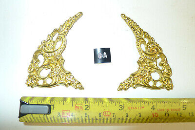 6a) PAIR ARCH CLOCK SPANDRELS Cast Yellow Brass Lantern/Bracket/Hooded
