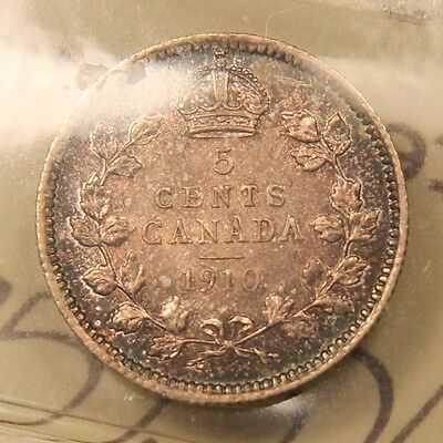 1910 Canada Silver 5 Cent. Round Leaves Bow Tie. AU-55 ICCS. Scarce type BV $460