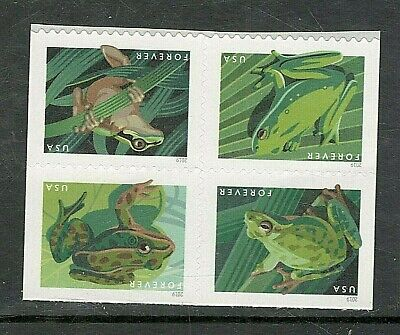 Sc # 5395-5398 ~ Block of 4 From Booklet ~ Forever Stamp Issue, Frogs (dg25)