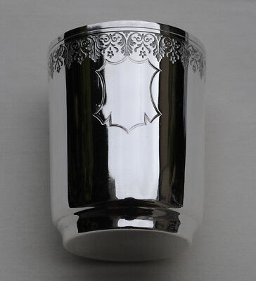 ANTIQUE FRENCH STERLING SILVER Wine Cup, Timbale or Beaker Cup MEDALLION - 3.2oz