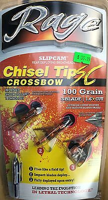 Rage Chizel Tip Crossbow 100 grain 3 blade Broadhead-Official Liscensed Dealer