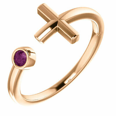 Alexandrite Negative Space Cross Ring In 14K Rose Gold