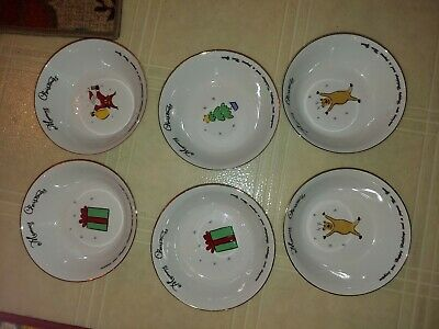 "Merry Brite ""Merry Christmas"" Set Of 6 Soup Cereal Bowls"