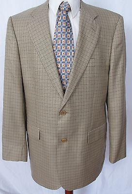 Brooks Brothers Mens Sport Coat Blazer Brown Mini Houndstooth Wool Blend 42L