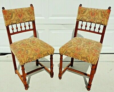 Pair Antique/Vtg Mahogany Carved Turned Tapestry Dining Accent Side Chairs #5771