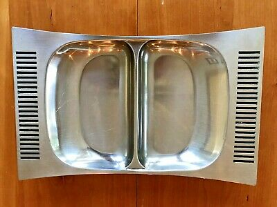 Mid Century Danish Modern Stainless Steel Serving Platter B&B Sweden double bowl