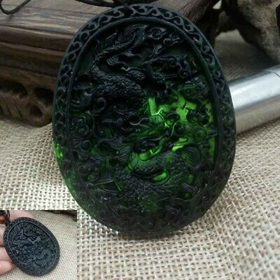 Chinese Natural Black Green Jade Dragon Hand Carved Jade Pendant  Amulet Gift #B