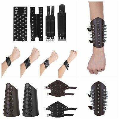 Men Women Leather Protective Wristband Punk Rock Cuff Bracelet Bracers Straps