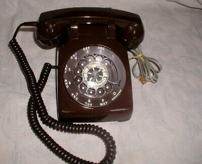 Vtg.BROWN Bell Western Electric Rotary Dial Desk Phone:EXCELLENT,Like New