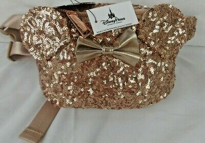 Disney Resort Loungefly Rosegold Sequin Minnie Mouse Fanny Hip Pack NWT