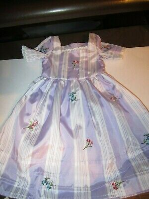 American Girl Doll FELICITY PURPLE MEET DRESS Traveling Gown Floral NEW
