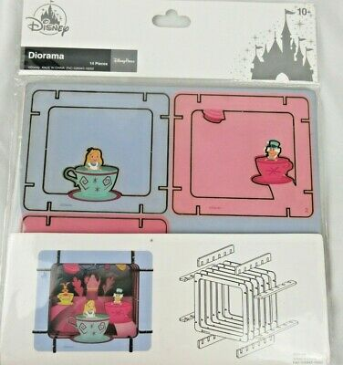 Disney Parks Alice in Wonderland Teacups Ride Diorama 14 Pcs 3D WDW New