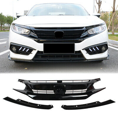 Front Bumper Grille Upper Grill For Honda Civic Coupe Sedan 2016 2017 2018 Black