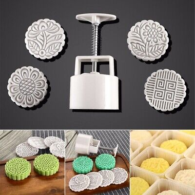 125g DIY Flower Moon Cake Mooncake Mold Round Mould Set +4 Stamps Festival Decor