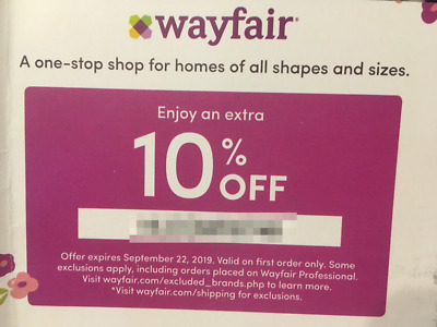 10% OFF WAYFAIR.com Coupon [FIRST ORDER/PURCHASE ONLY - EXP. 09/22/2019]