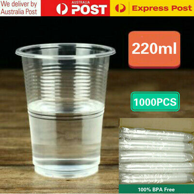 1000x 220ml Disposable Plastic Cups Clear Reusable Drinking Water Cup Party Bulk