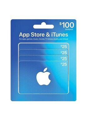 Apple Store iTunes $100 Giftcard (4 $25 Gift Cards)