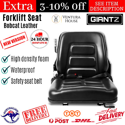 Universal PU Leather Backrest Seat Forklift Tractor Excavator Truck Padded Chair