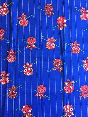 "Vintage Fabric Remnant Cotton Quilting 1970s Hobo Bag Bindle Blue Red 29""x22"""