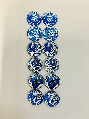 6 Pairs Of 12mm Glass Cabochons #1009