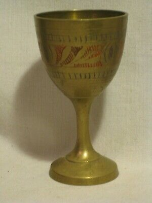 1 x ornate vintage etched painted metal mini goblet small stemmed shot glass cup