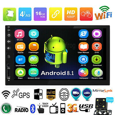 """7"""" HD 2DIN 4Core Android 8.1 Car BT Radio Stereo Player GPS AUX SD WIFI w/Camera"""