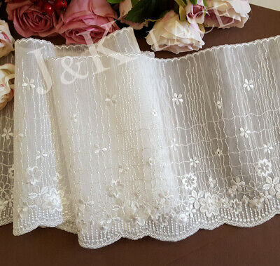 18.5 cm width Off White Embroidery Lace Trim