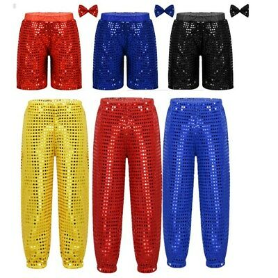 Kids Boys Girls Jazz Modern Shorts Pants Dancewear Party Sequined Costume Unisex