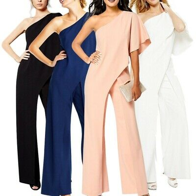 Women One Shoulder Wide Leg Jumpsuit Ladies Evening Party Playsuit Long Pants