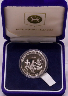 Malaysia 1989 Silver Proof 15 Ringgit KM# 48 15th Southeast Asian Games