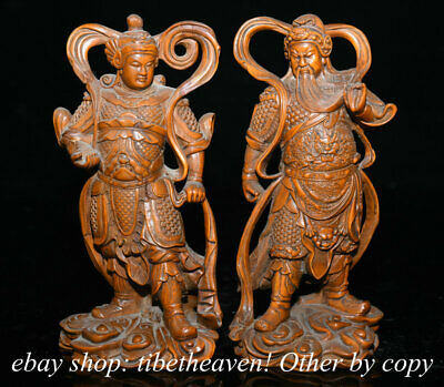 """7.2"""" Old China Boxwood Carving Feng Shui Wei Tuo Guangong Door God Statue Pair"""