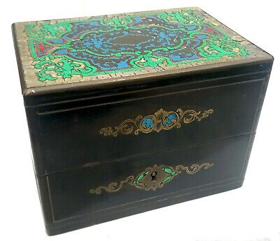 Lovely French Antique Boulle Work Trinket Jewellery Box With Multi Coloured Top