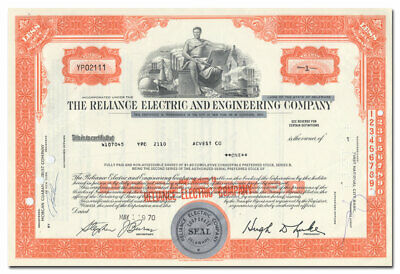 Reliance Electric and Engineering Company Stock Certificate (Lincoln Motors)