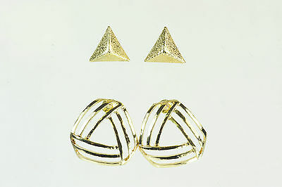 Two Pairs Of Earrings Gold Colour Triangular Bold Modern Brand New Small (CL10)