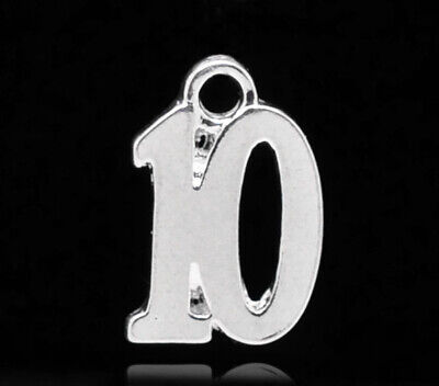 10 SILVER PLATE NUMBER 10 CHARM/PENDANT 10x14mm Birthday~Wine Glass Charms (N)