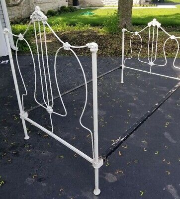 Antique cast wrought iron bed frame  child size twin