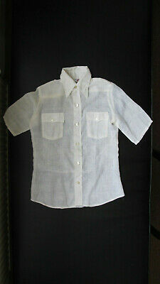 A Vintage, White, Short-Sleeved Blouse by Levi's (ie jeans) for a Child (1960's)