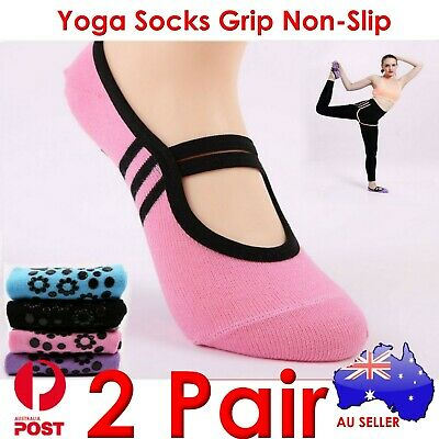 2x 2 Pair Yoga Socks Grip Non-Slip Pilates Massage Ballet Exercise Gym Sock AU