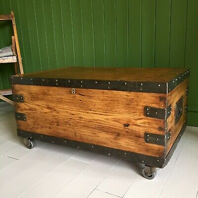 ANTIQUE PINE CHEST Victorian Campaign TRUNK Coffee TABLE Old Military BOX + Key