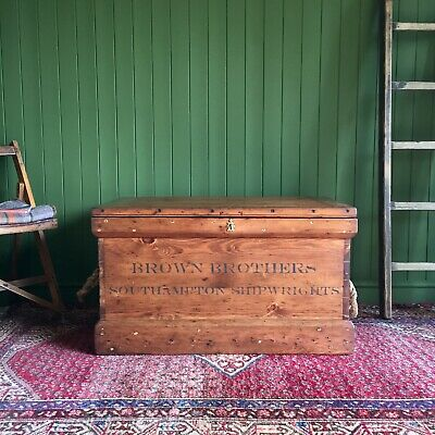 ANTIQUE PINE CHEST Victorian Industrial CHEST Old Wooden Storage TRUNK Trays,Key