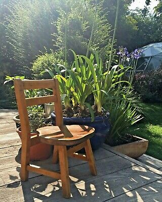 Vintage Childs Wooden Chair Old School Saddle-shaped seat EEC