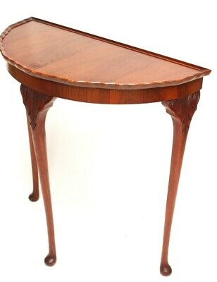 Vintage English Walnut Demi Lune Console Table - FREE Shipping [5409]