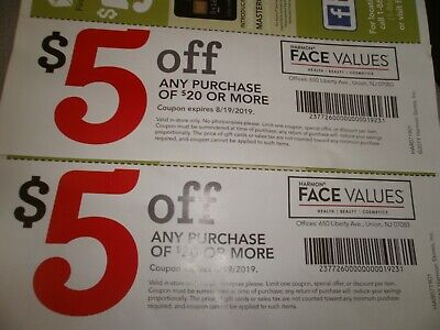 2 Face Value coupons 5 off 20 exp 8/19/19
