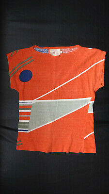 A Vintage Orange T-Shirt with a Miro-like Pattern & a Boat Neck Collar(1960's)