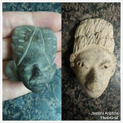 Toltec Stone Head 2 Figures 4 and 2 inches
