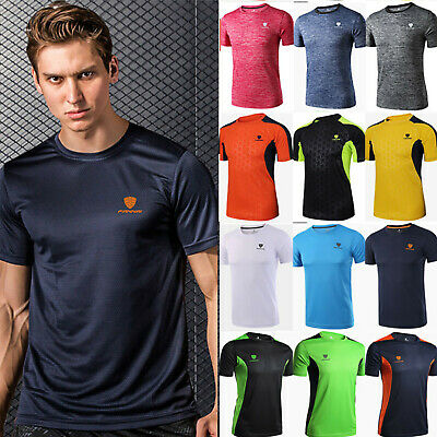 Mens Breathable T Shirt Wicking Cool Running Gym Tee Sports Football Training UK