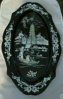 Vintage Lacquerware & Mop Relief Uy Tin Chat Luong Vietnamese Wall Hanging